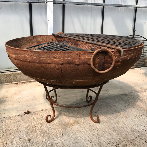 Original Vintage Kadai Fire Bowl with Custom Stand & Grill | ø104cm