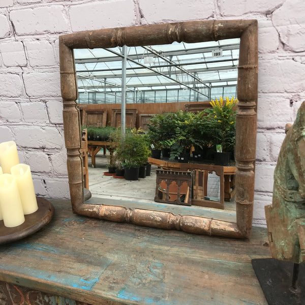 RUSTIC INDIAN TEAK FRAMED WALL MIRROR