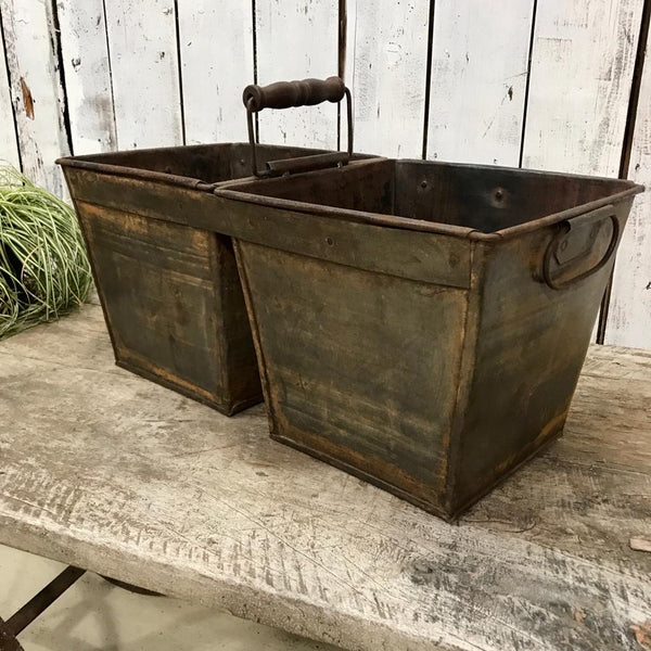 2-BUCKET RECYCLED METAL PLANTER | (W58CM | H28CM)