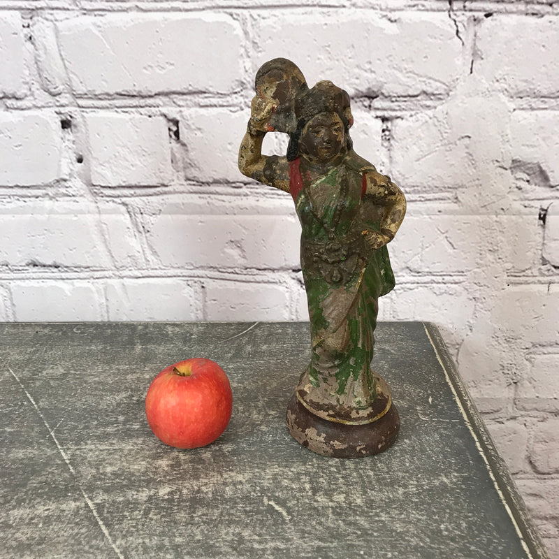VINTAGE INDIAN PAINTED TERRACOTTA TOY LADY FIGURINE