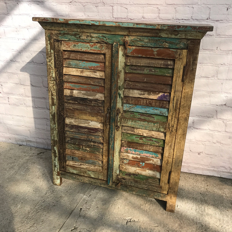 RUSTIC HAND PAINTED INDIAN CABINET | 2 LOUVRE DOORS (W90CM | H108CM)