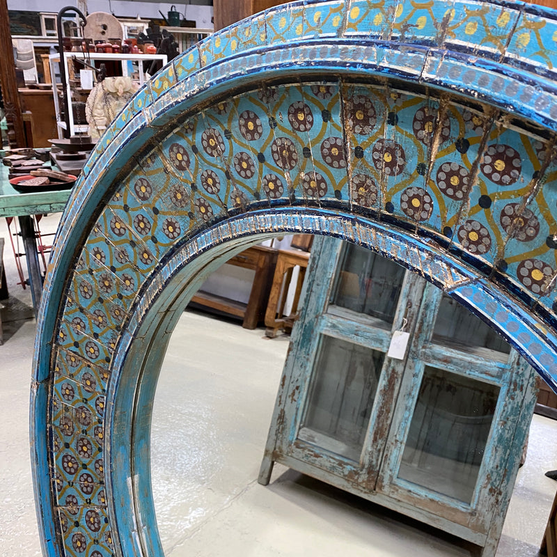HAND PAINTED CIRCULAR WALL MIRROR | TURQUOISE  Ø120CM