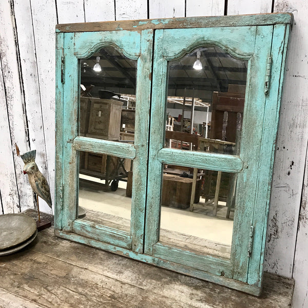 Upcycled Indian Window Mirror Turquoise (H87cm | W86.5cm)