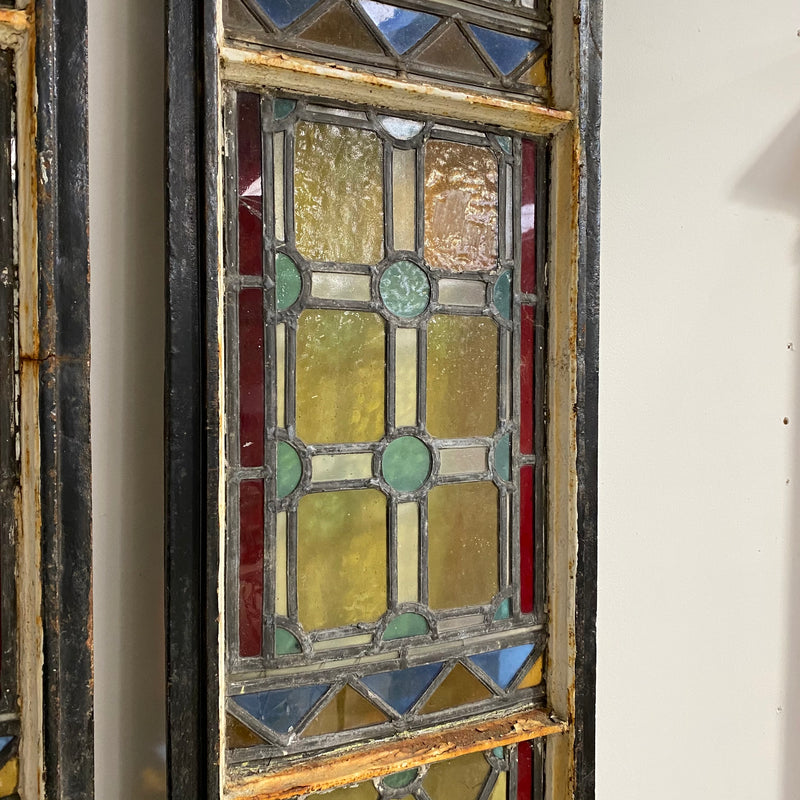 PAIR OF ANTIQUE STAINED GLASS ARCH WINDOWS (H250cm | W35cm)