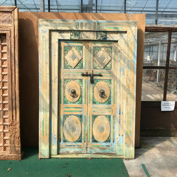 Antique Indian Hand carved and painted teak door (H213cm | W126cm)