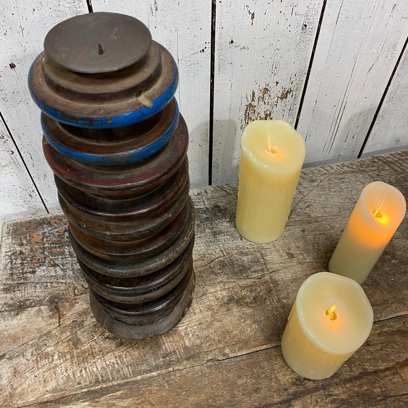 ANTIQUE INDIAN TEAK PILLAR CANDLE HOLDER (H38CM | Ø14CM)