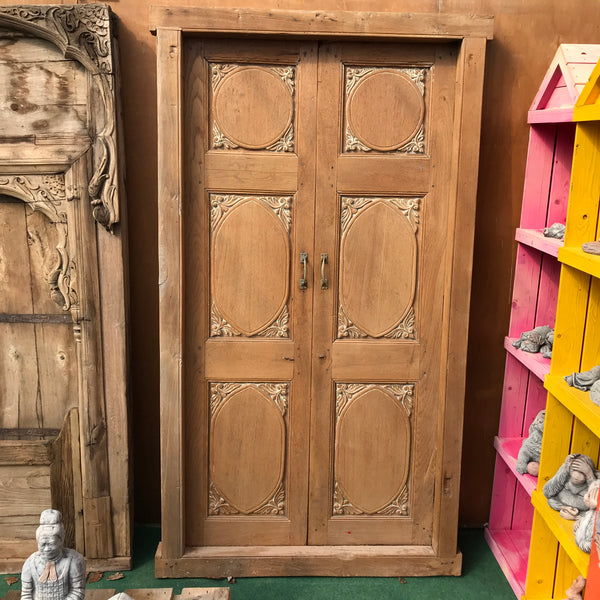 Vintage Indian panel carved door in frame (H209cm | W113cm)