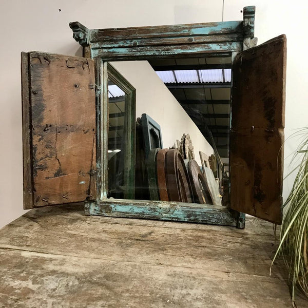 Upcycled Indian Window Mirror Turquoise (H61cm | W54cm)