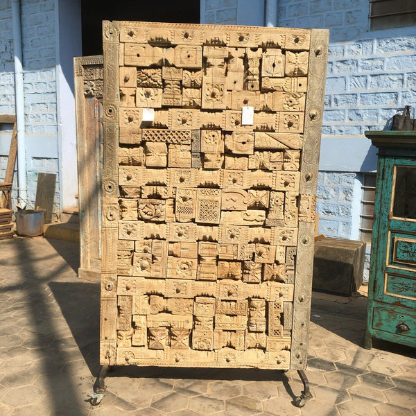 SALVAGED INDIAN CARVED BLOCK JIGSAW WALL DECOR/ COFFEE TABLE TOP (H200CM | W117CM)