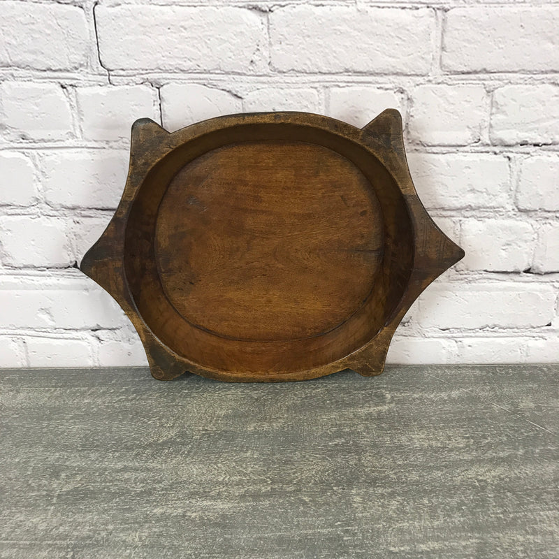 Vintage teak Indian hand carved bowl | ø36.5cm | 45706c