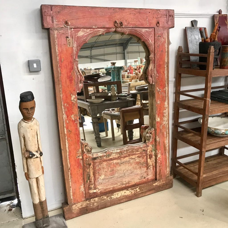 SALVAGED INDIAN WINDOW FRAME MIRROR (H175CM | W107CM)