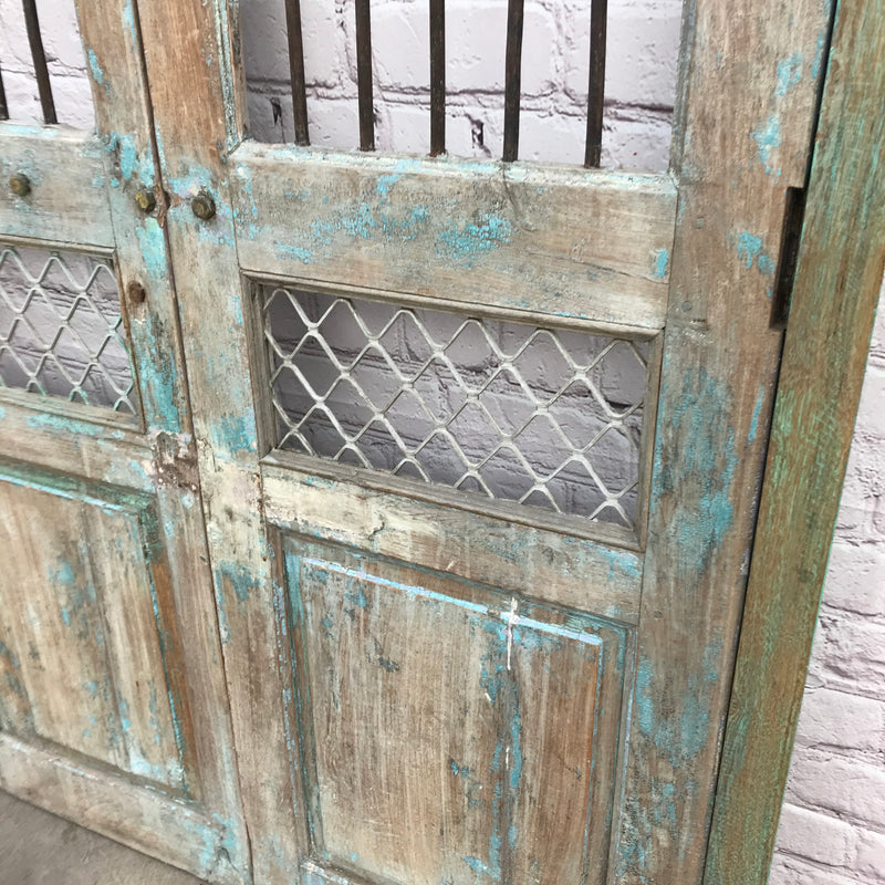 Vintage Indian gate with faded turquoise painting | h183cm w120cm (W)