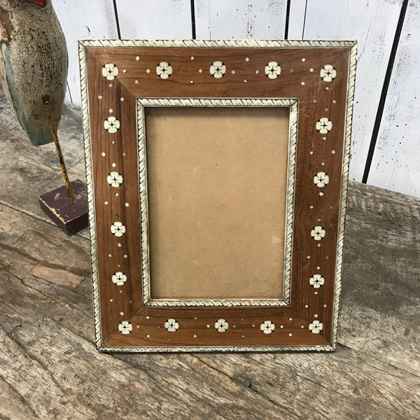 TEAK & CAMEL BONE INLAID PHOTO FRAME