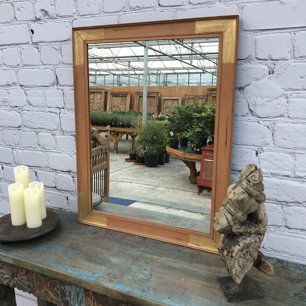 RECTANGULAR WOODEN INDIAN MIRROR | 45942