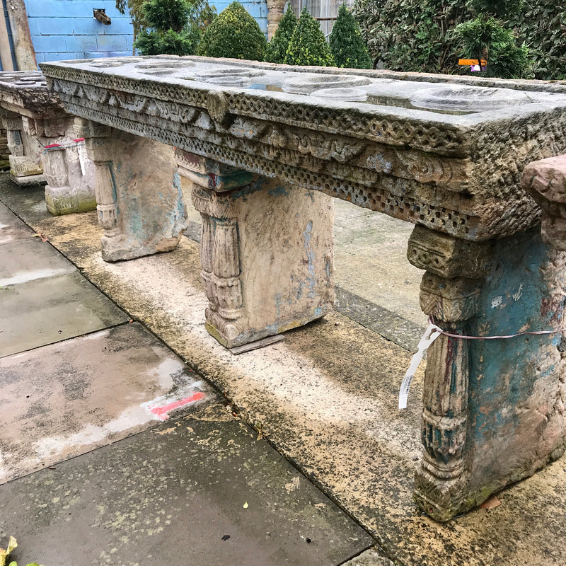 Antique Indian Stone Water Table for 9 Water Pots