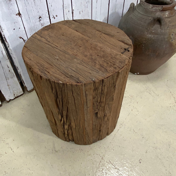 ANTIQUE INDIAN RAILWAY SLEEPER STOOL