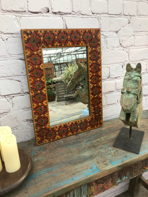 Hand painted colourful Indian teak wall mirror | 18946
