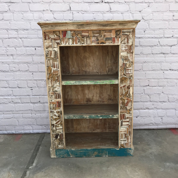 Reclaimed Indian teak wood shelving cabinet