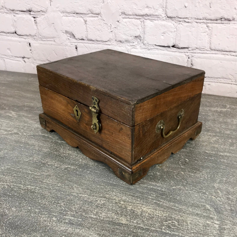 Vintage classic Indian teak desk box with compartments and lock | 28457