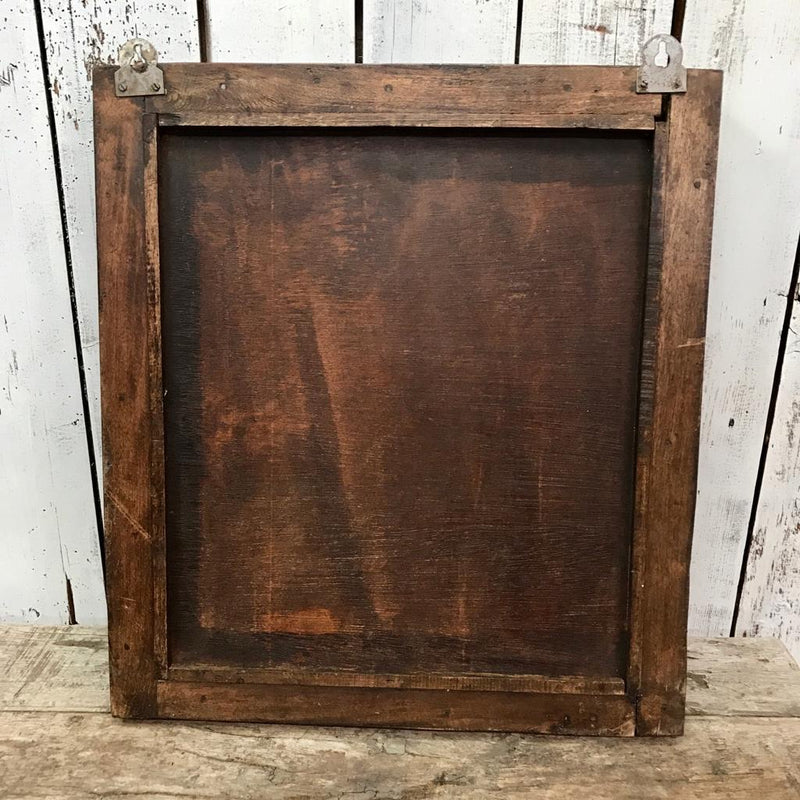 Vintage Indian Window Shutter Mirror | Brown patina (H58cm | W53cm)