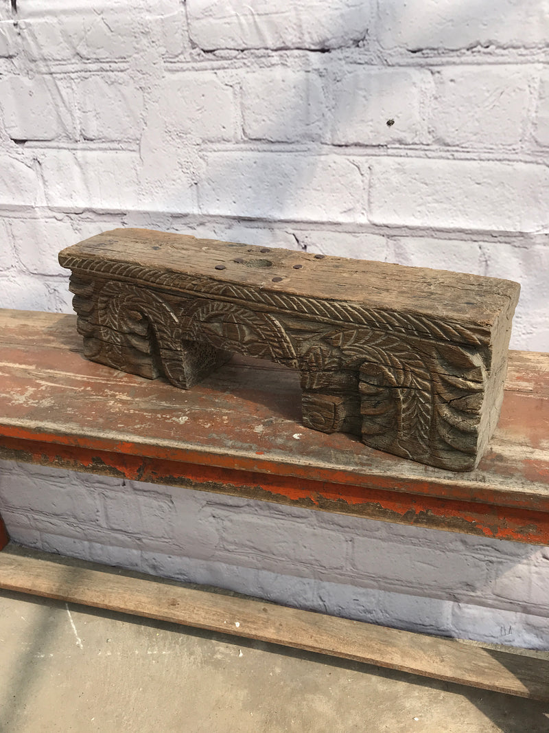 ANTIQUE DECORATIVE INDIAN CARVED PANEL (W47CM | H14CM)
