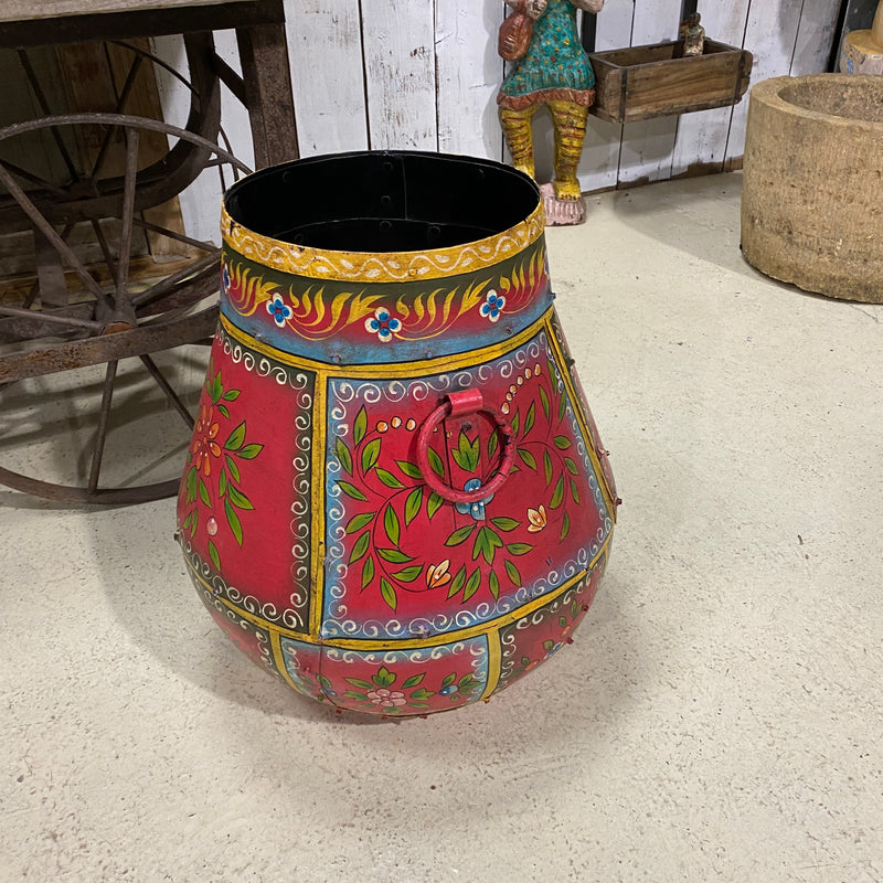 INDIAN HAND PAINTED METAL RIVETED WATER POT PLANTER | Red (H45CM)