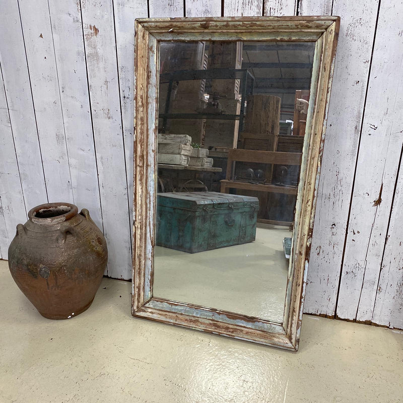 RECLAIMED WOOD WALL MIRROR | BLUE PATINA (W69CM | H117CM)