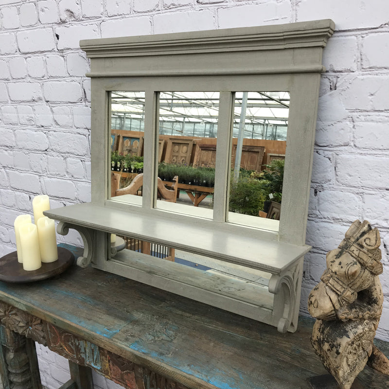 SOLID GREY PAINTED WALL MIRROR WITH SHELF (W76CM | H74CM)