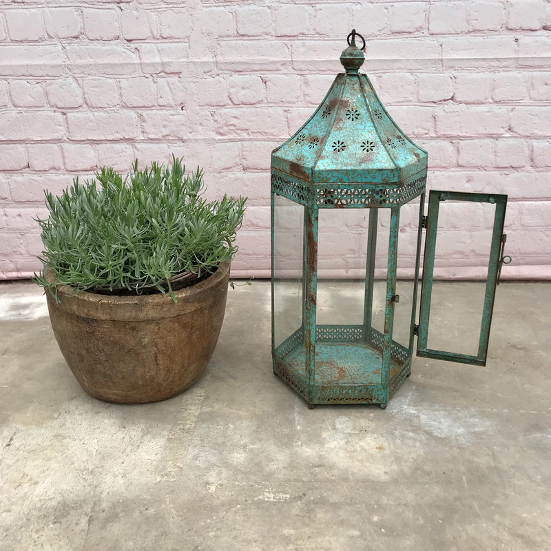 Vintage Indian Floor standing or hanging hurricane lantern | Turquoise (H74cm | 30cm)