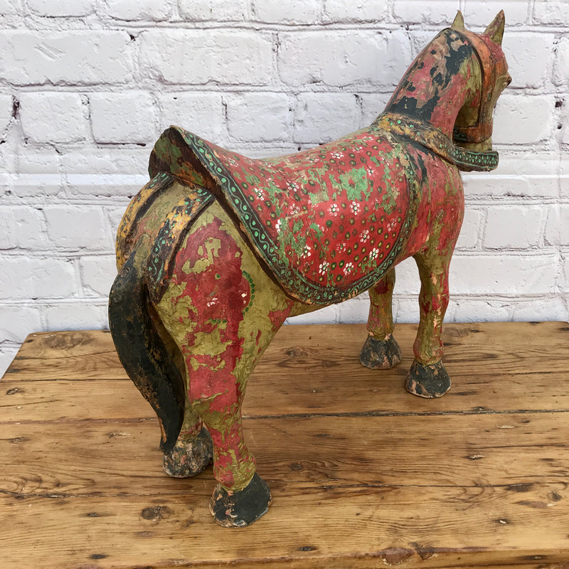 ANTIQUE HAND PAINTED HORSE STATUE