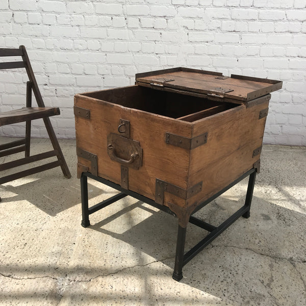 Vintage Military Chest on iron stand