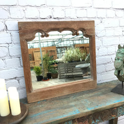 Indian carved teak wood wall mirror