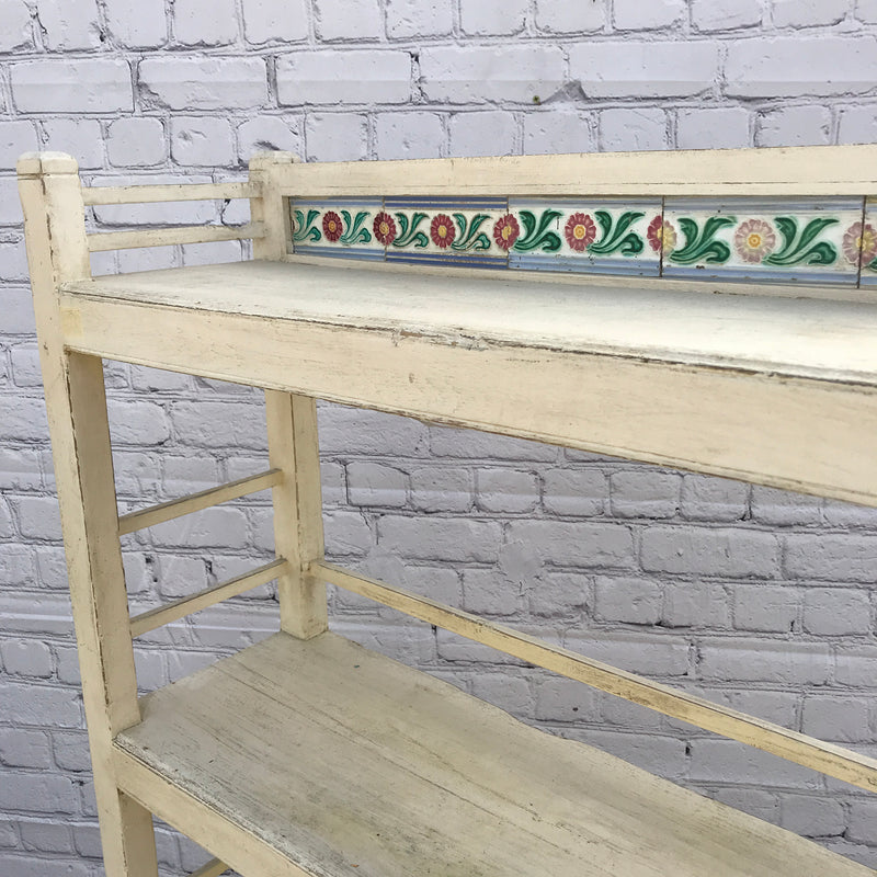 Anglo Indian painted wood and tile shelving