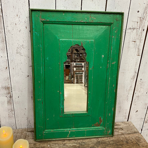 HAND CARVED INDIAN MIHRAB MIRROR | GREEN PATINA (H78CM | W51CM)