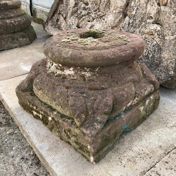 Antique stone pillar base