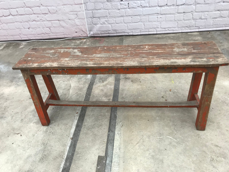 Rustic teak bench with red patina | W122cm