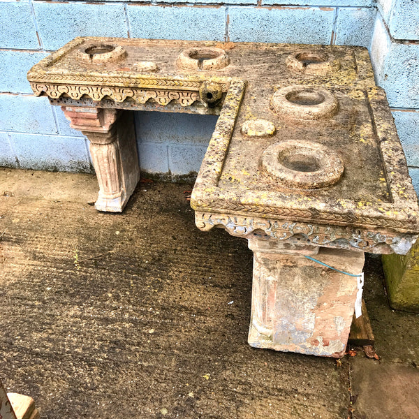 Antique Indian Stone Water Table for 5 Water Pots
