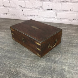 Old vintage teak desk box with internal mirror and two-level compartments perfect for jewellery or stationery storage| 33406