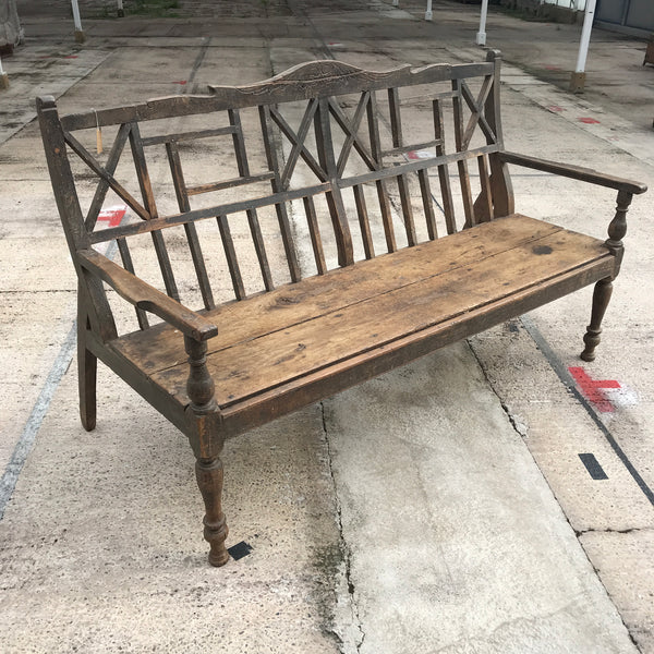 Vintage teak garden bench | 3-4 adults seater