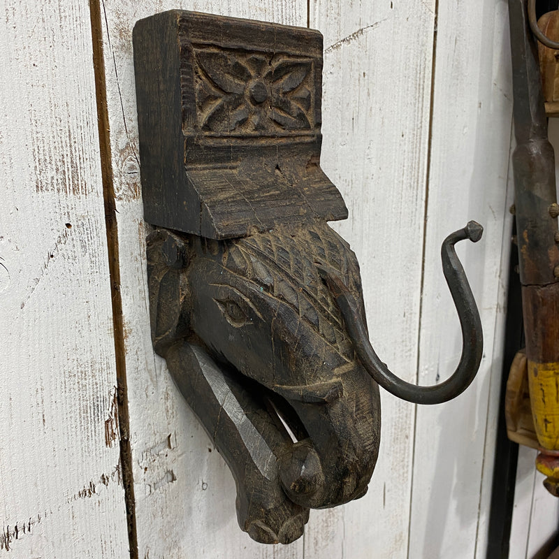 HAND CARVED ELEPHANT HEAD HOOK