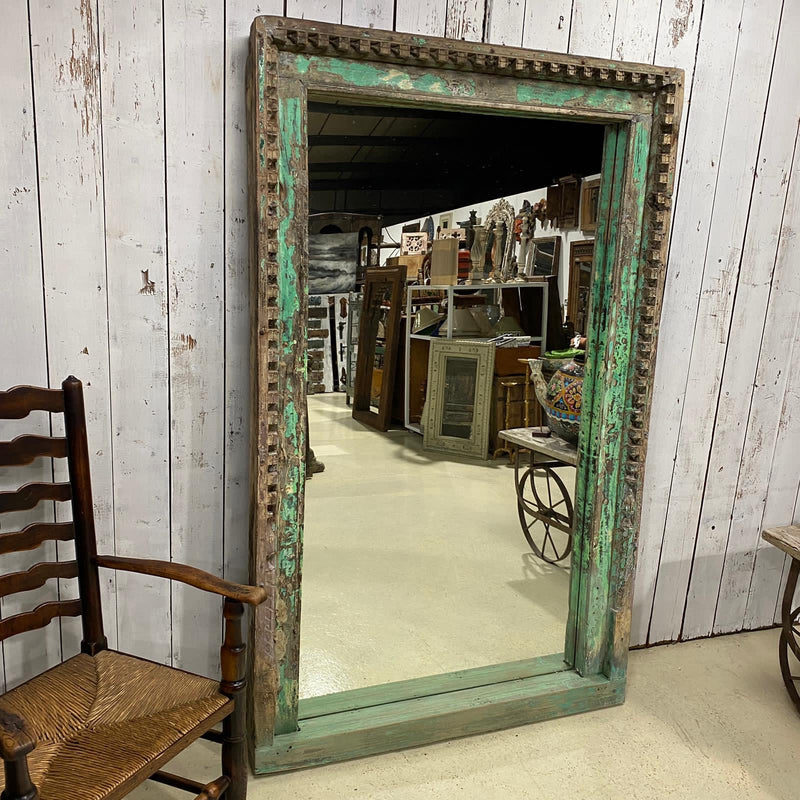 VINTAGE INDIAN CARVED DOOR FRAME MIRROR  | GREEN TURQUOISE PATINA (W116CM | H188CM)