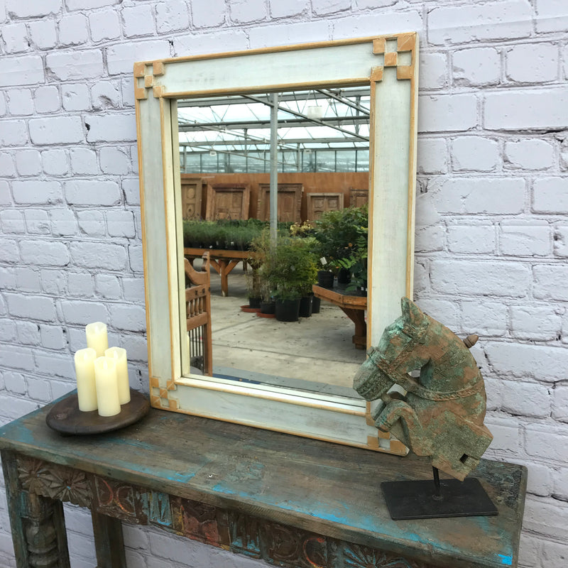 DISTRESSED RECTANGULAR GREEN WOODEN MIRROR | 45980