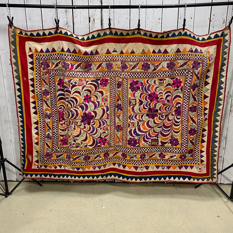 VINTAGE TRADITIONAL INDIAN BANJARA HAND EMBROIDERY WALL ART (W190CM | H135CM)