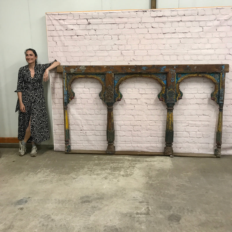 Hand painted architectural triple Mihrab arch panel frame