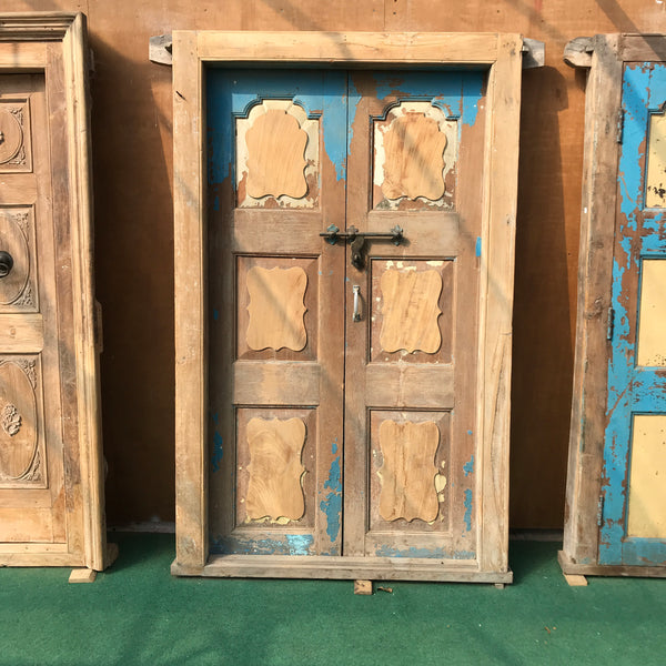 Vintage Indian painted door in frame (H222cm | W138cm)