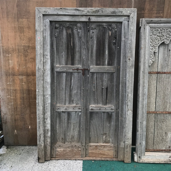 Salvaged Indian Teak Door in Frame (H216cm | W134cm)