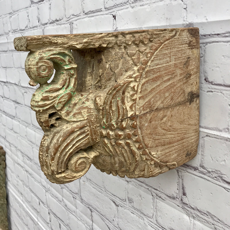 Vintage Indian carved peacock architectural corbel | Price for each piece • Sold individually