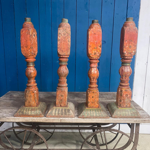SET OF 4 HAND PAINTED TABLE LEGS | ORANGE (H68CM)