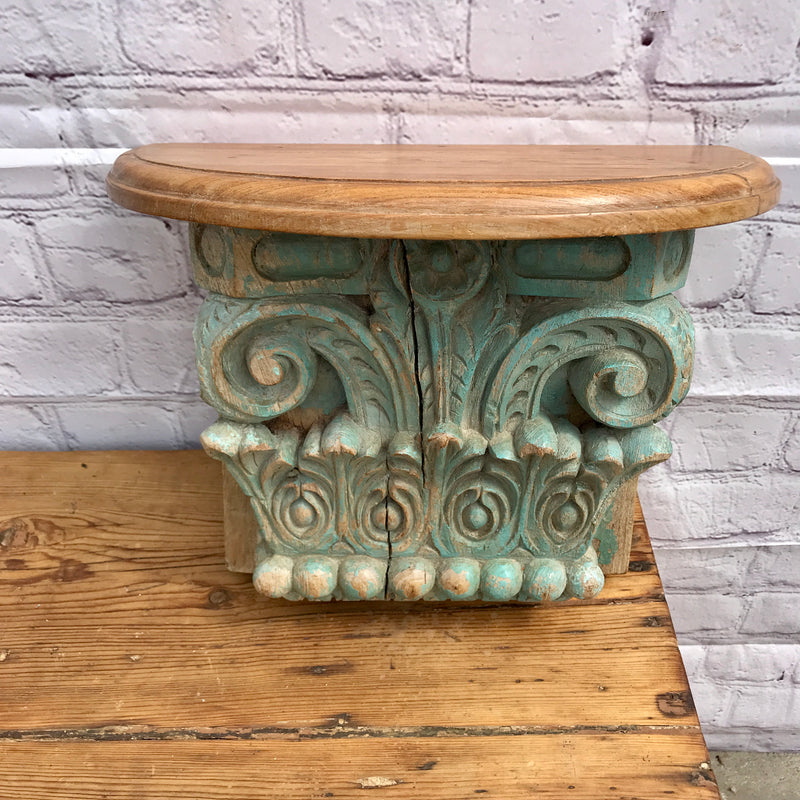 UPCYCLED ANTIQUE INDIAN ARCHITECTURAL BRACKET WALL SHELF