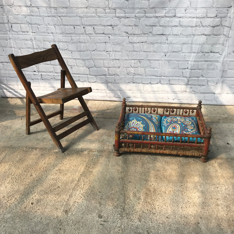 Antique Indian Rocking Crib | Upcycle opportunity to decorative coffee table or pet bed